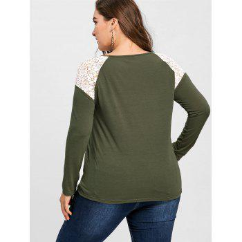 Plus Size Lace Panel Raglan Sleeve Top - ARMY GREEN ARMY GREEN