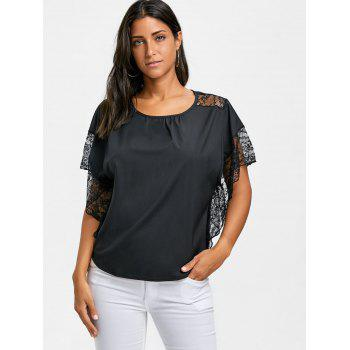 Dolman Sleeve Lace Trimmed Blouse - BLACK S