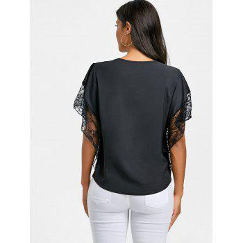 Dolman Sleeve Lace Trimmed Blouse - BLACK M