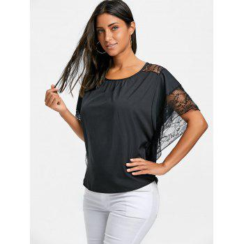 Dolman Sleeve Lace Trimmed Blouse - BLACK XL