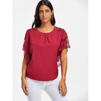 Dolman Sleeve Lace Trimmed Blouse - RED L