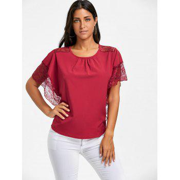 Dolman Sleeve Lace Trimmed Blouse - RED M
