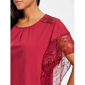 Dolman Sleeve Lace Trimmed Blouse - RED S