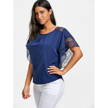 Dolman Sleeve Lace Trimmed Blouse - BLUE M