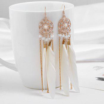 Tassel Rhinestone Feather Drop Earrings - WHITE