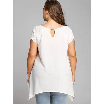 Plus Size V Neck Crescent Hem Tunic Blouse - WHITE 5XL
