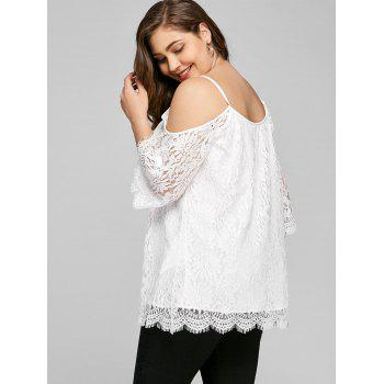 Plus Size Cutout Bell Sleeve Lace Blouse - WHITE 5XL