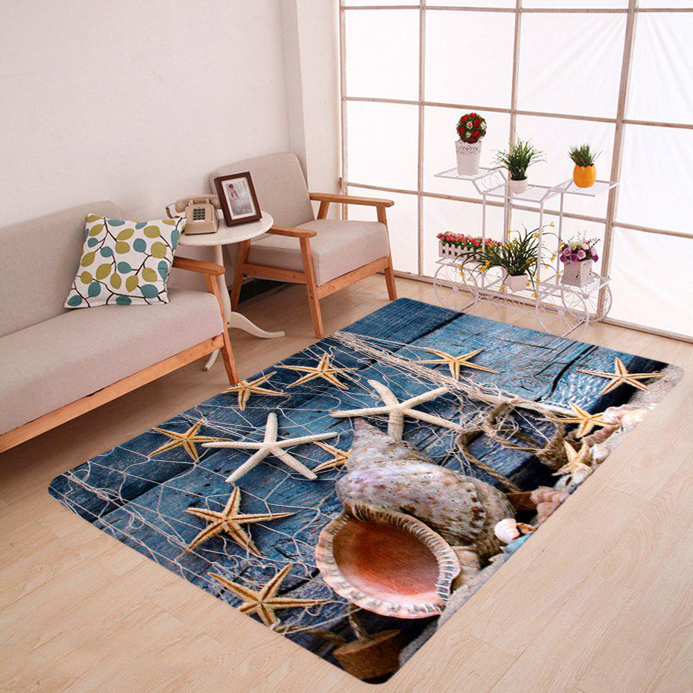 Starfish Conch Floor Coral Velvet Area Rug sand shell starfish pattern floor area rug