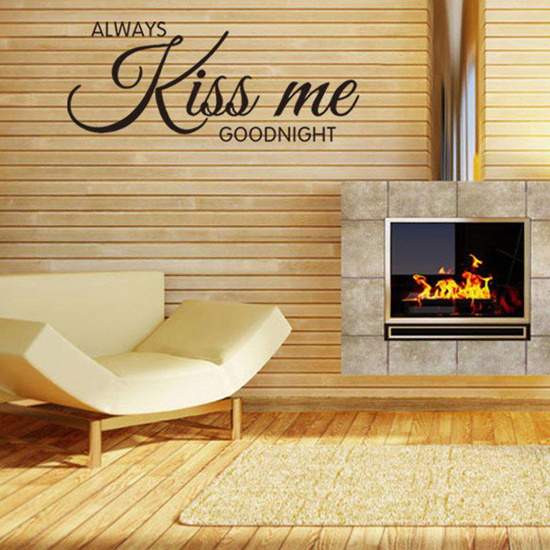 Always Kiss Me Goodnight Letters Patterned Wall Decal always