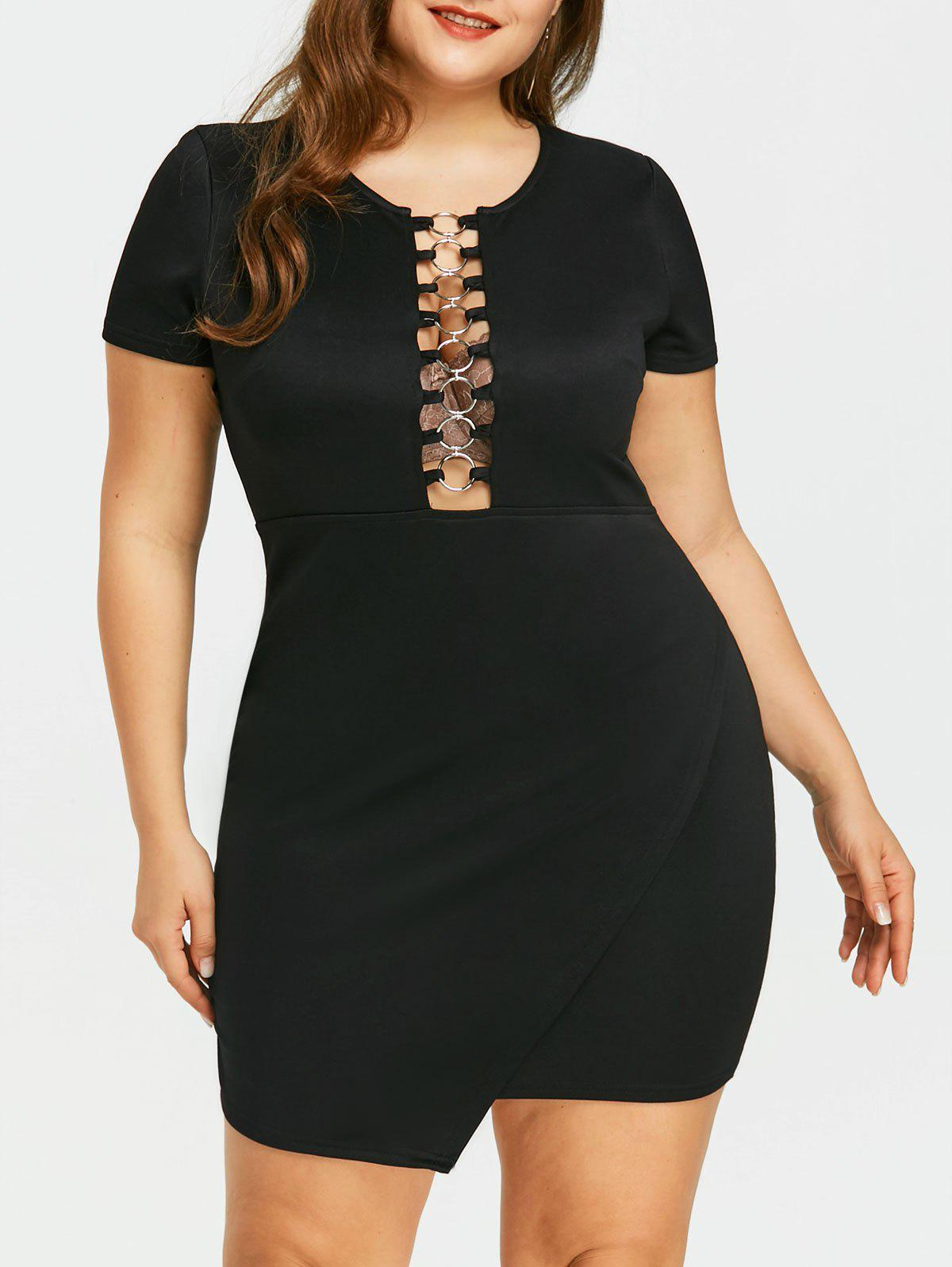 Plus Size Cutout Overlap Tight Dress брюки accelerate tight