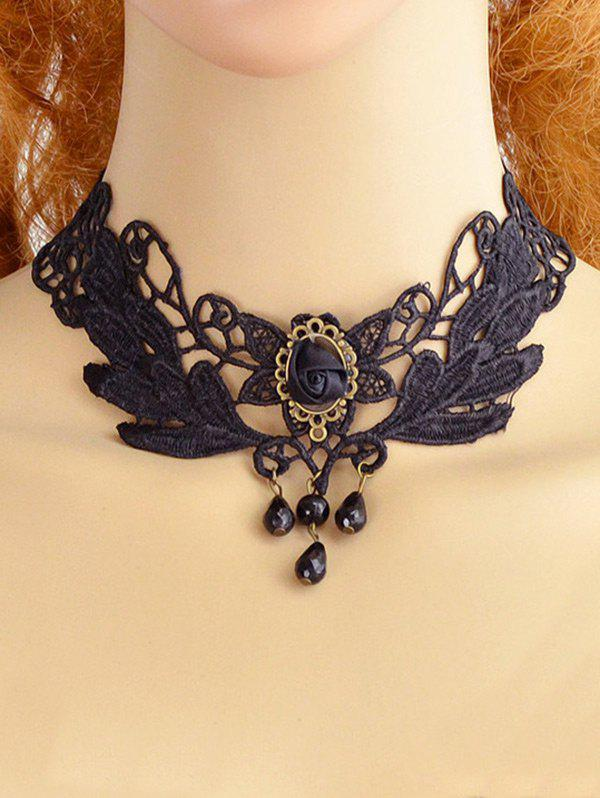 Hollow Out Lace Floral Choker Necklace fashion white hollow out lace metal chain choker necklace