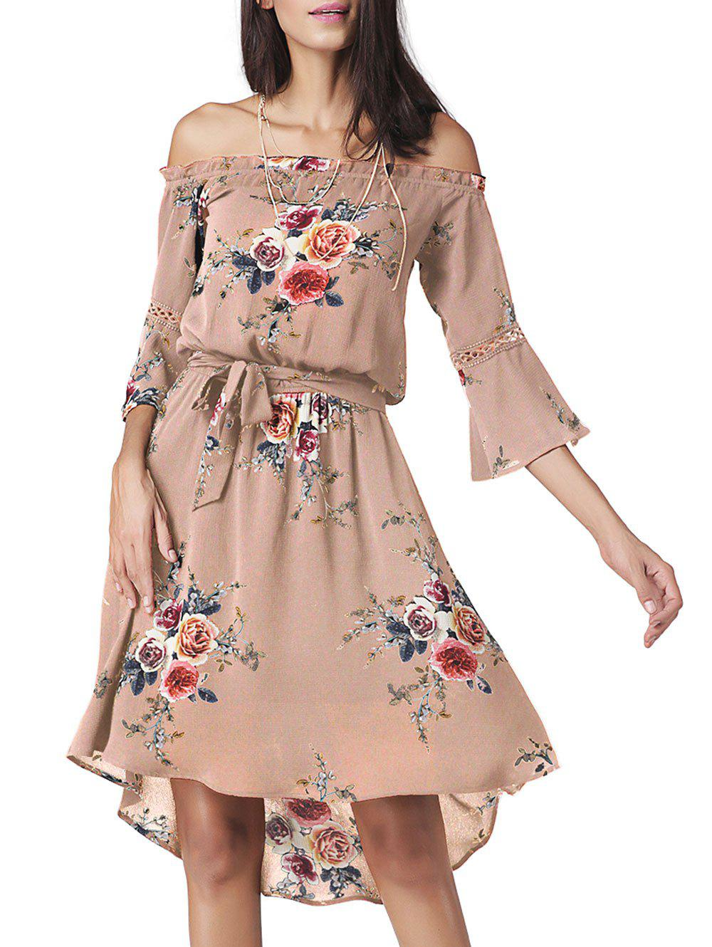Floral Chiffon Off The Shoulder Midi Dress sweet off the shoulder floral dress for women