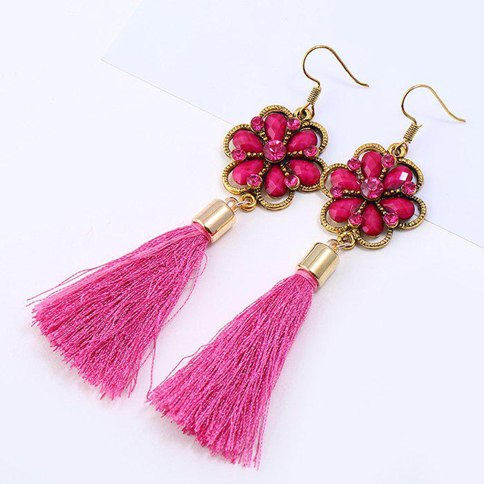 Rhinestone Floral Hollow Out Fringed Drop Earrings tear drop beaded hollow out rhinestone earrings