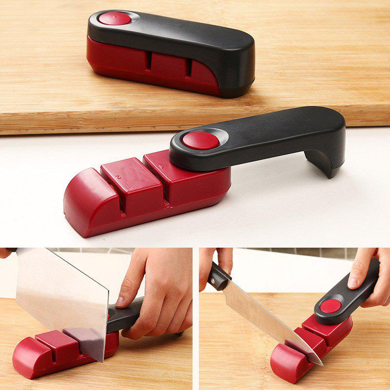 Folding Kitchen Tool Two Stages Kitchen Knife Sharpener - RED/BLACK