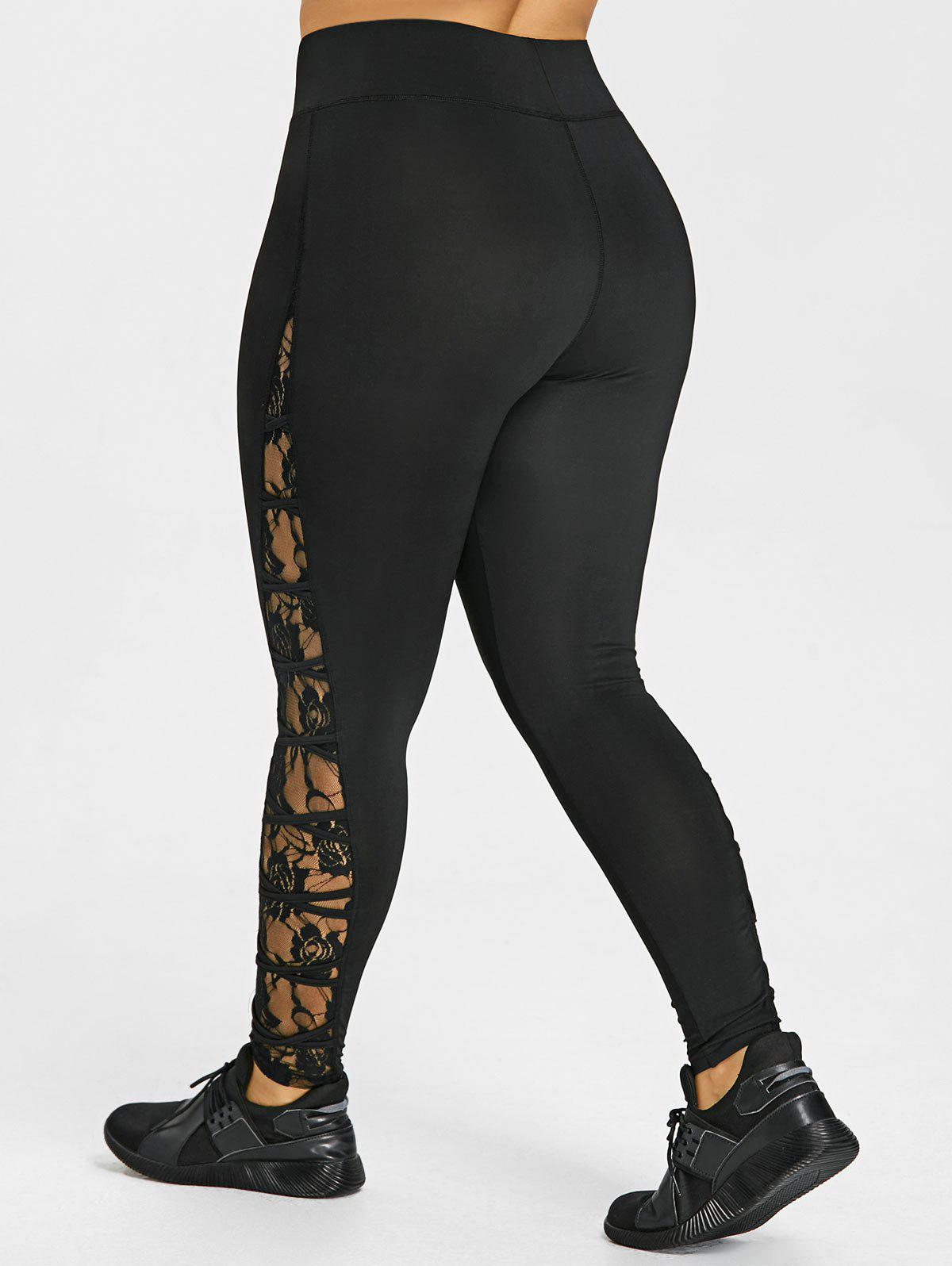 Plus Size Criss Cross Lace Panel Leggings - BLACK XL