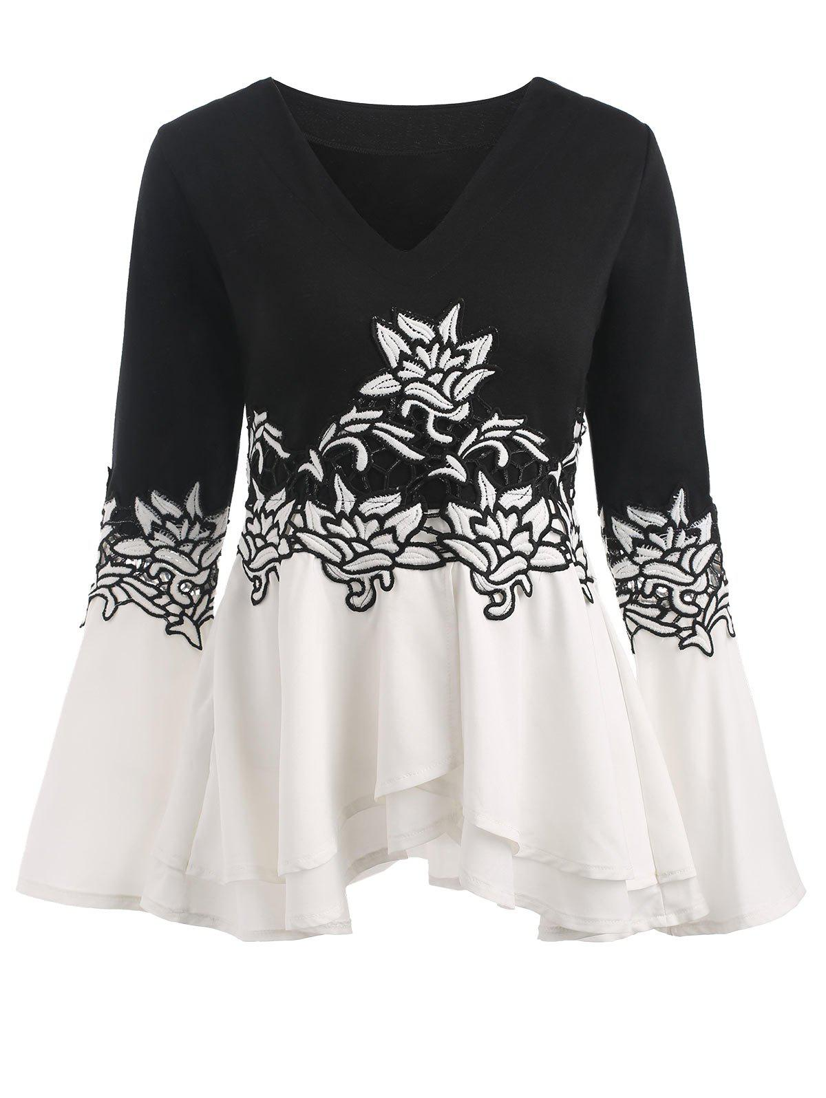 Bell Sleeve Embroidered Peplum T-shirt - WHITE/BLACK 2XL