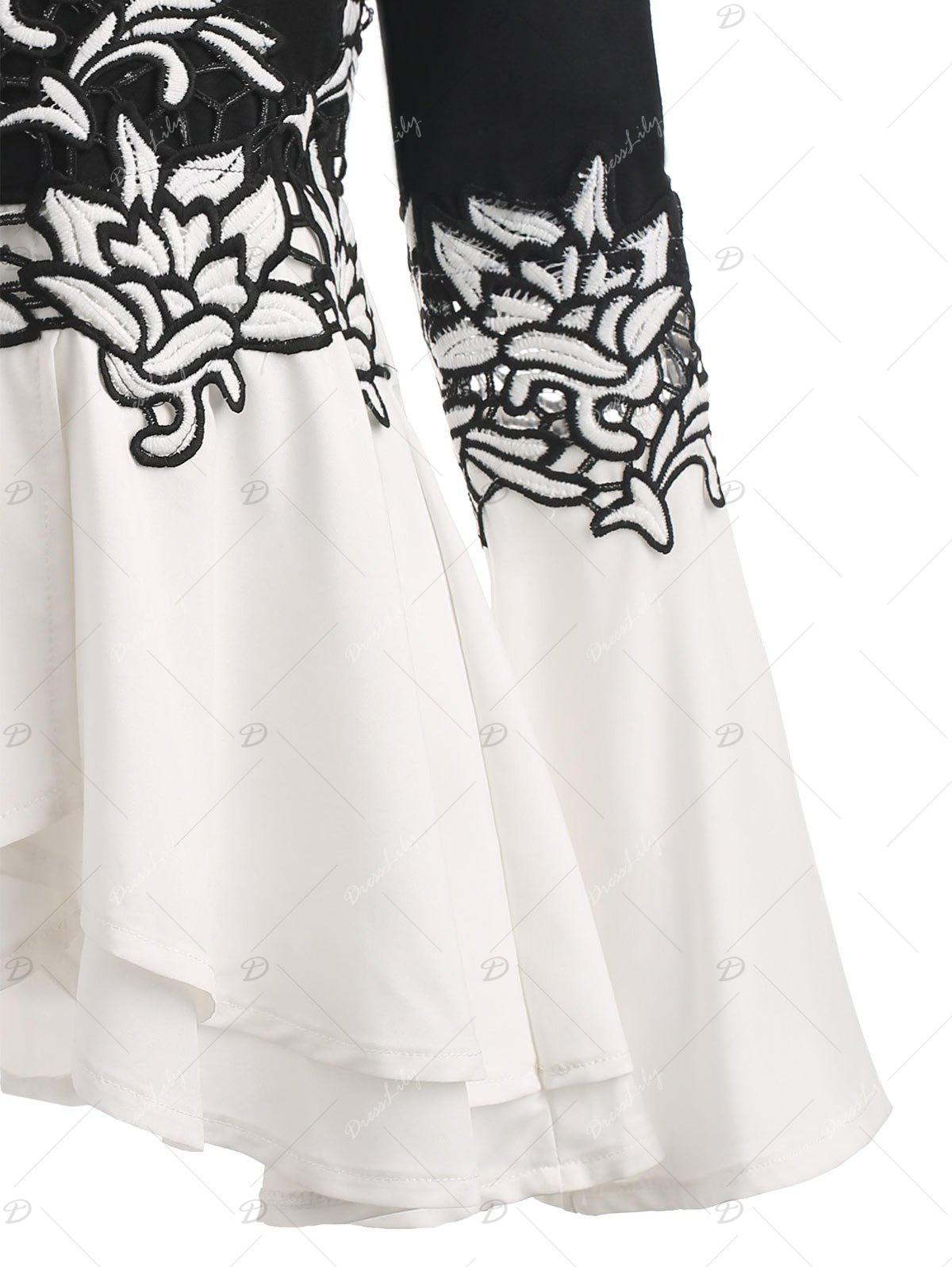 Bell Sleeve Embroidered Peplum T-shirt - WHITE/BLACK XL
