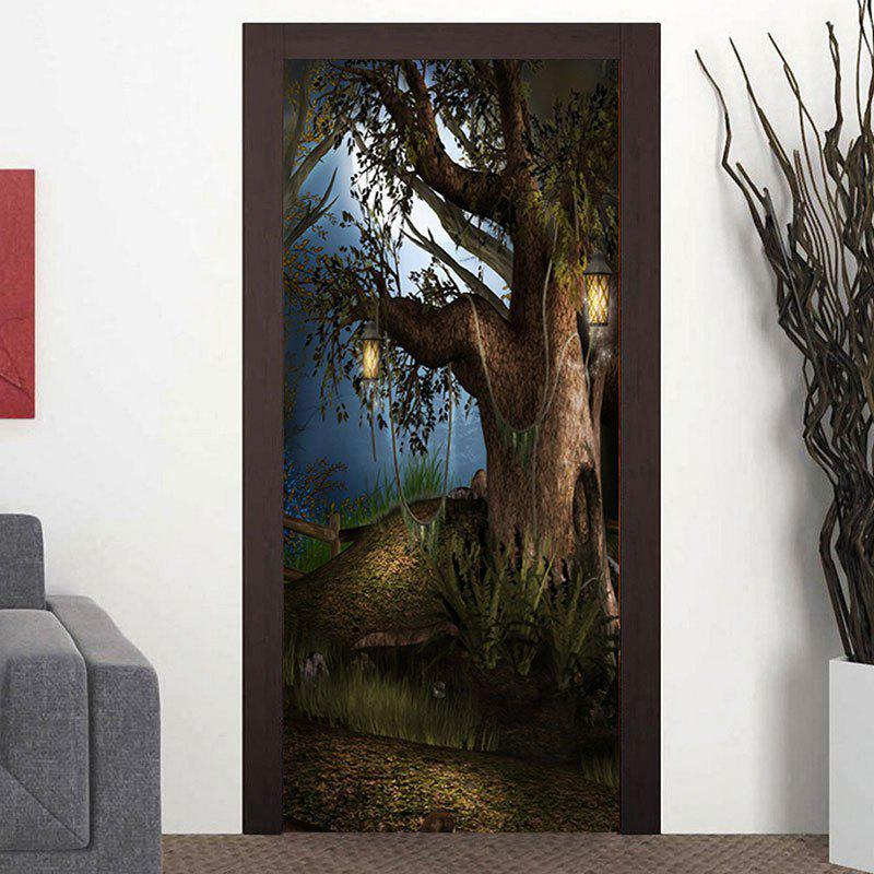 Tree Patterned Decorative Door Stickers - COLORMIX 38.5*200CM*2PCS