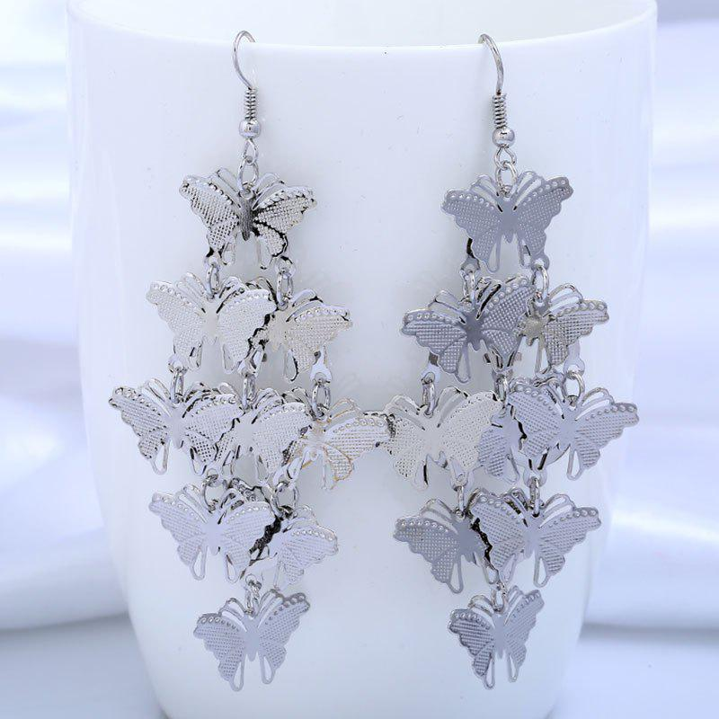 Metal Hollow Out Butterfly Design Drop Earrings two tone hollow design drop earrings