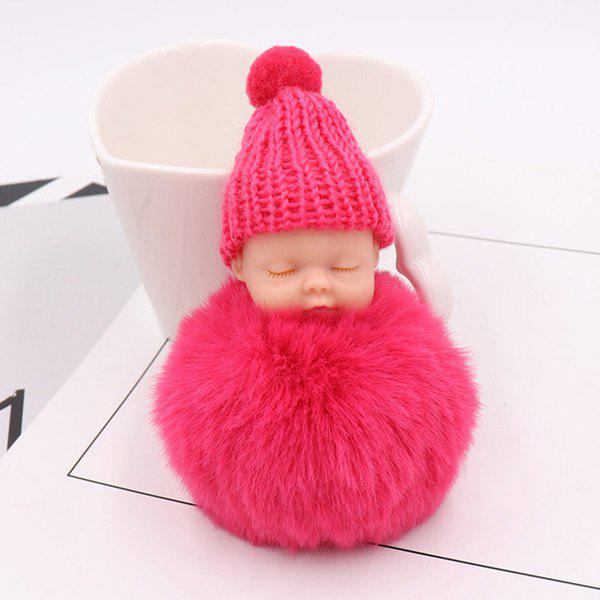 Sleep Baby Fluffy Cute Keychain - ROSE RED