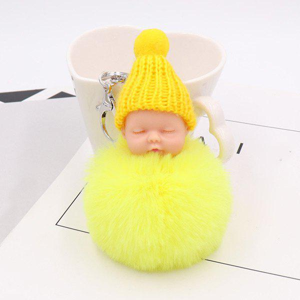 Sleep Baby Fluffy Cute Keychain - YELLOW