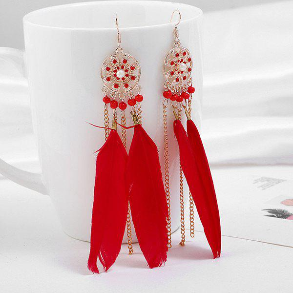 Tassel Rhinestone Feather Drop Earrings - RED