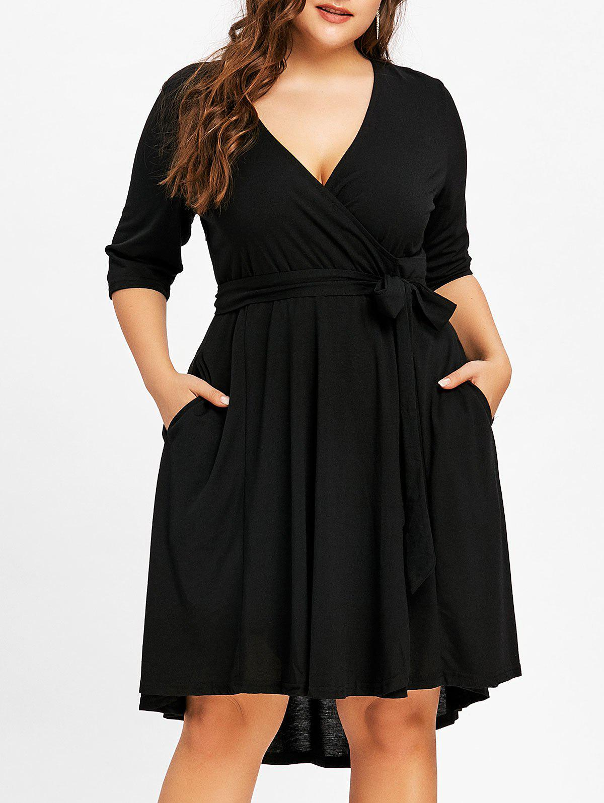 Plus Size High Low Surplice Belted Dress color block belted high low dress