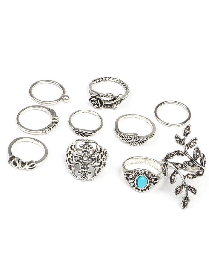10 Pcs  Valentine's Day Flower Leaf Series Rings - COLORMIX