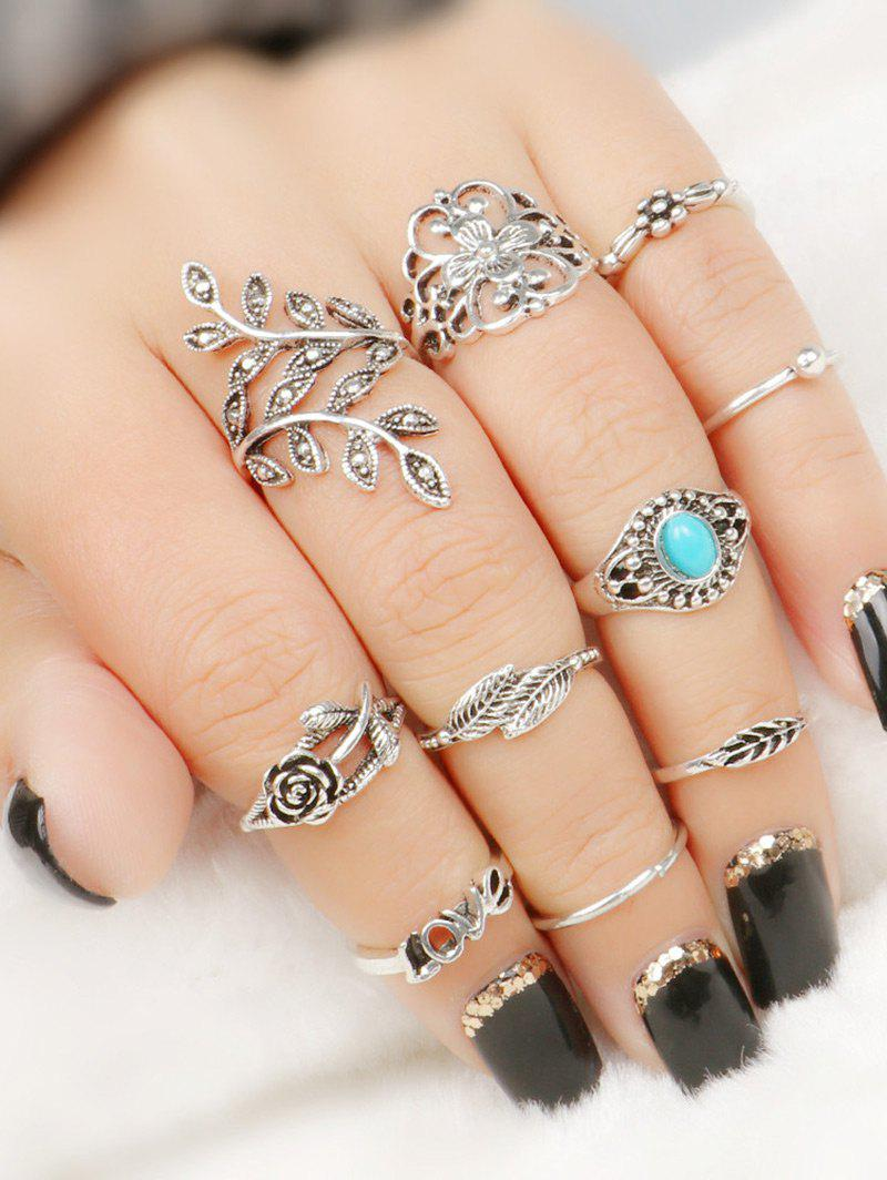 Image of 10 Pcs Valentine's Day Flower Leaf Series Rings