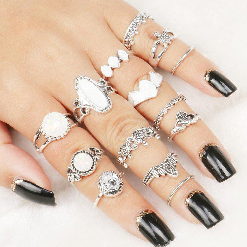 Faux Gem Metal Band Rings Set - COLORMIX ONE-SIZE