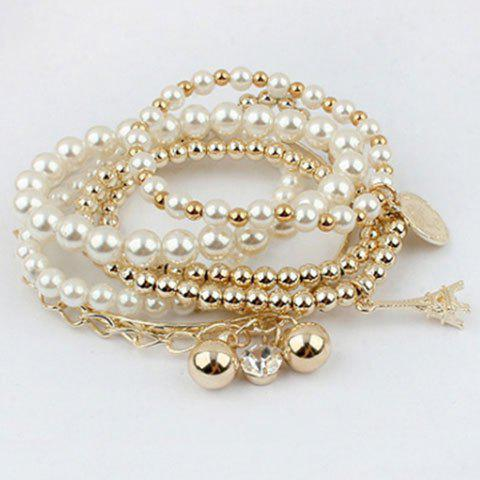 Faux Pearl Charm Beaded Bracelets Set - GOLDEN