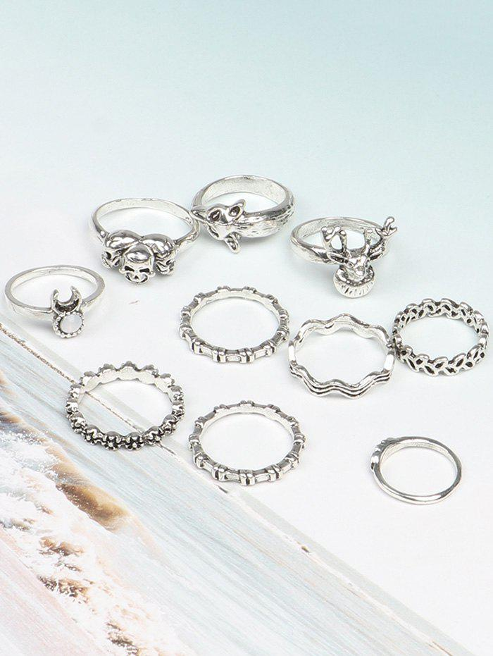 Metal Punk Skull Rings Set - COLORMIX ONE-SIZE