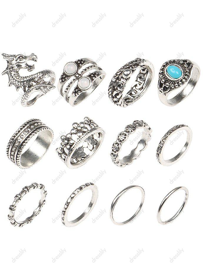 Faux Gem Dragon Flower Rings Set