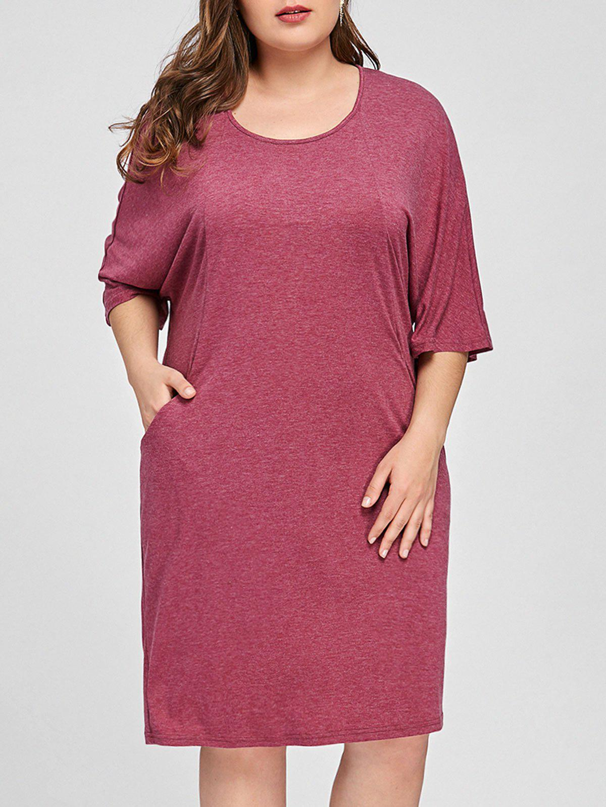 Plus Size Batwing Sleeve Pocket Dress, Rose red