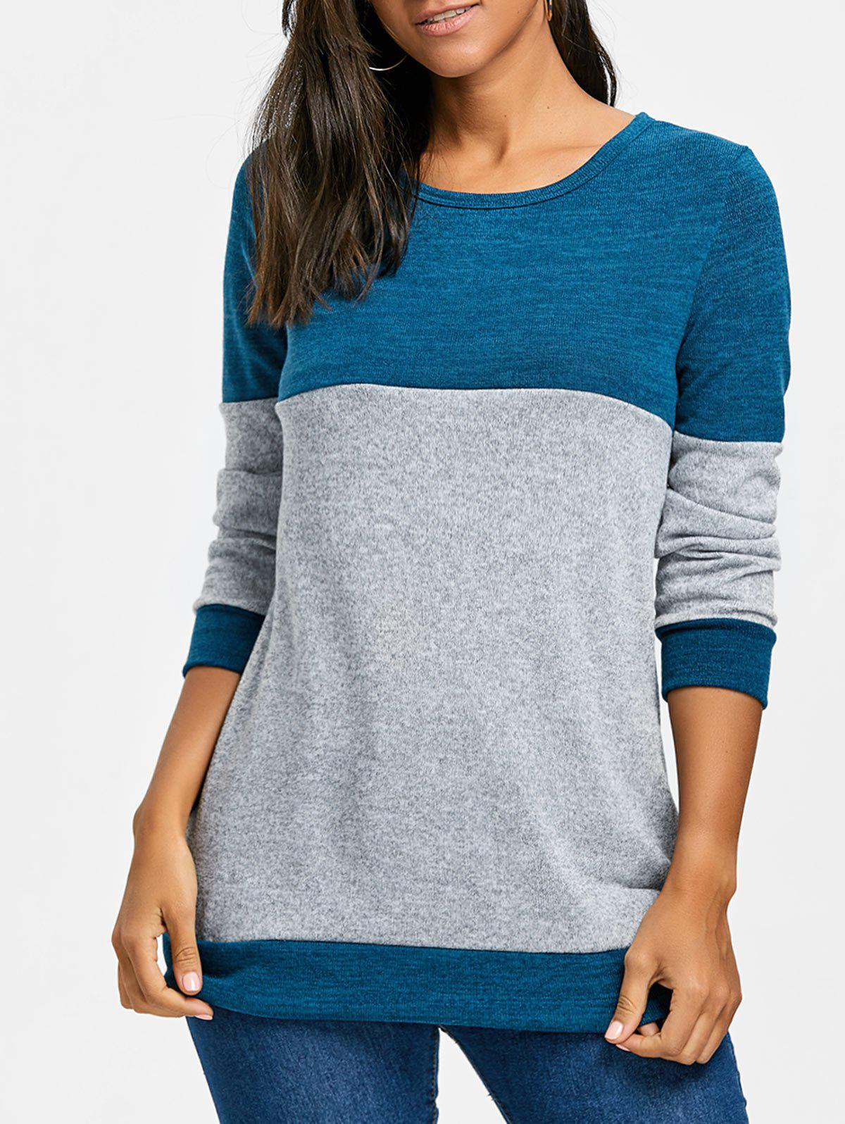 Contrast Color Long Sleeve Knit Top mesh contrast flounce sleeve top