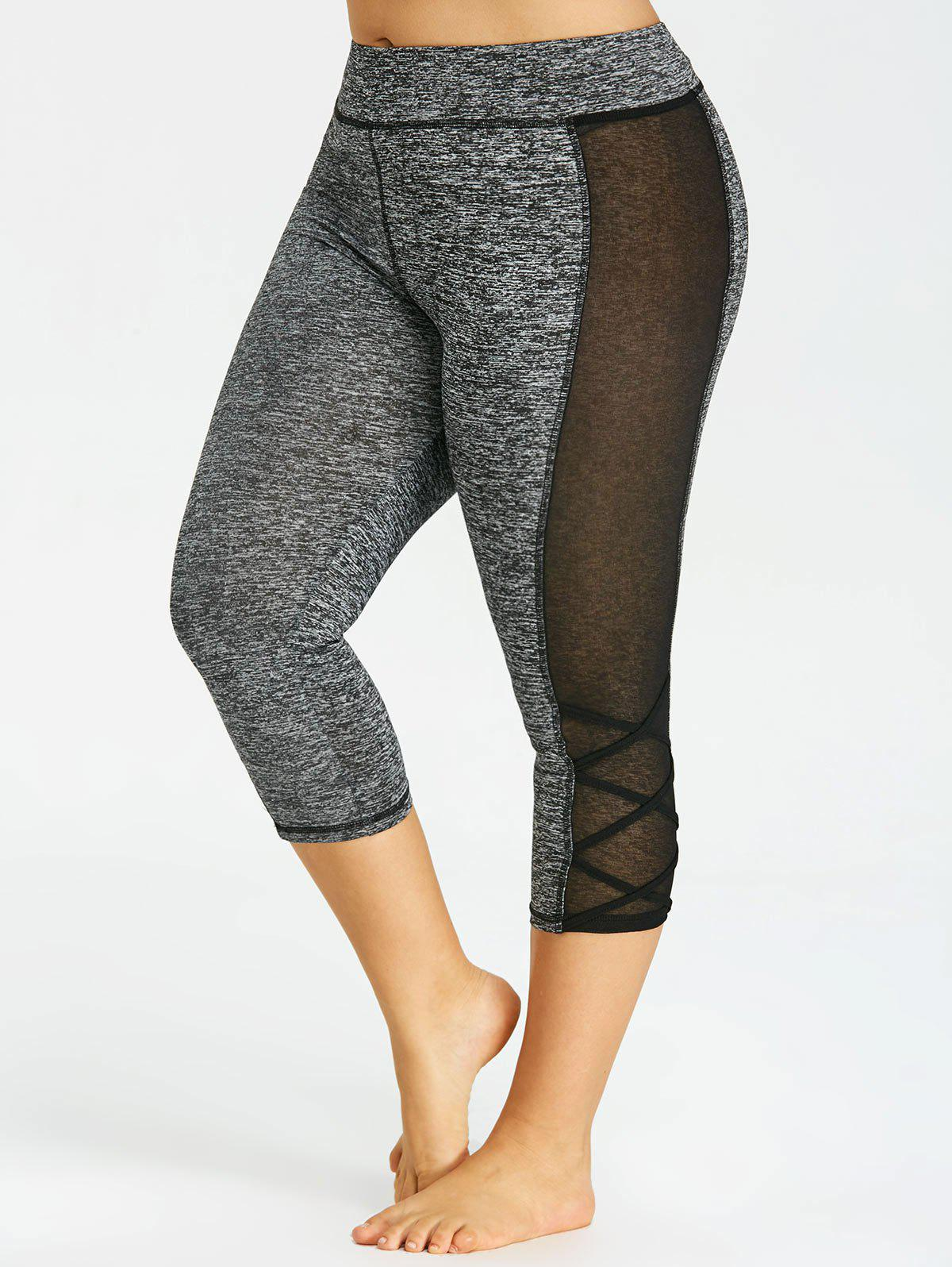 Plus Size Marled Capri Leggings - DARK HEATHER GRAY 4XL