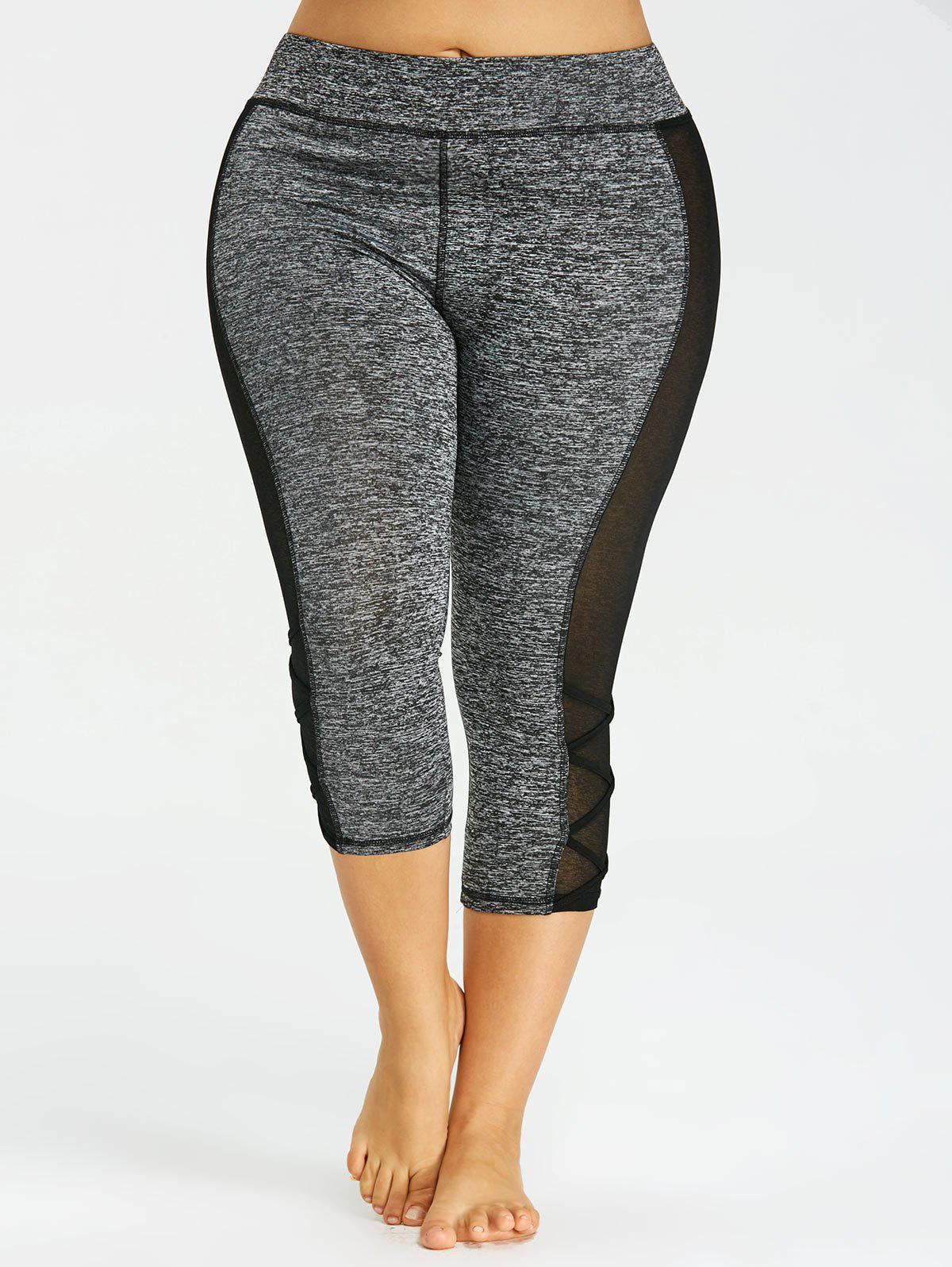 Plus Size Marled Capri Leggings - DARK HEATHER GRAY XL