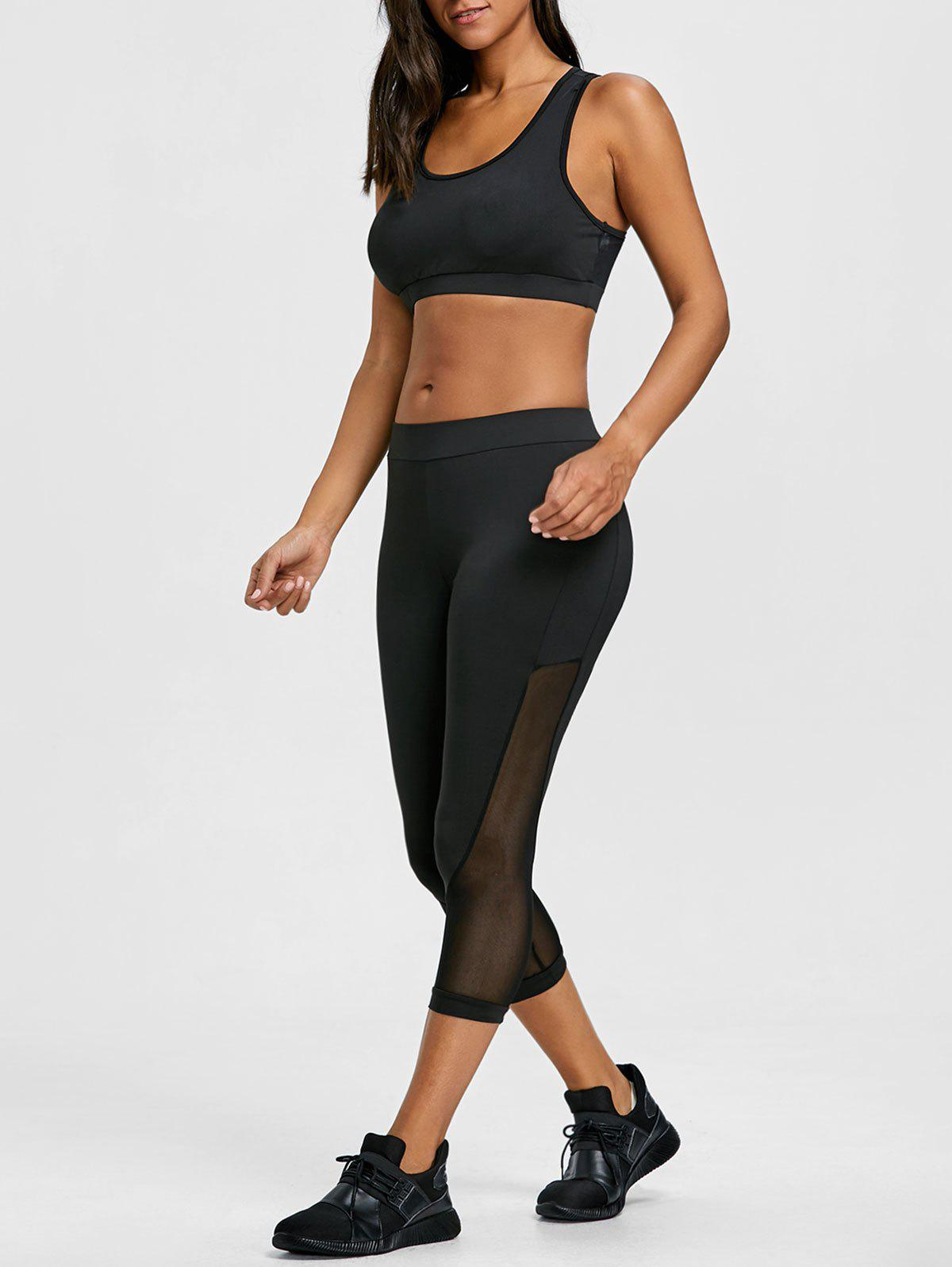 Sheer Mesh Insert Bra and Cropped Leggings Set - BLACK S