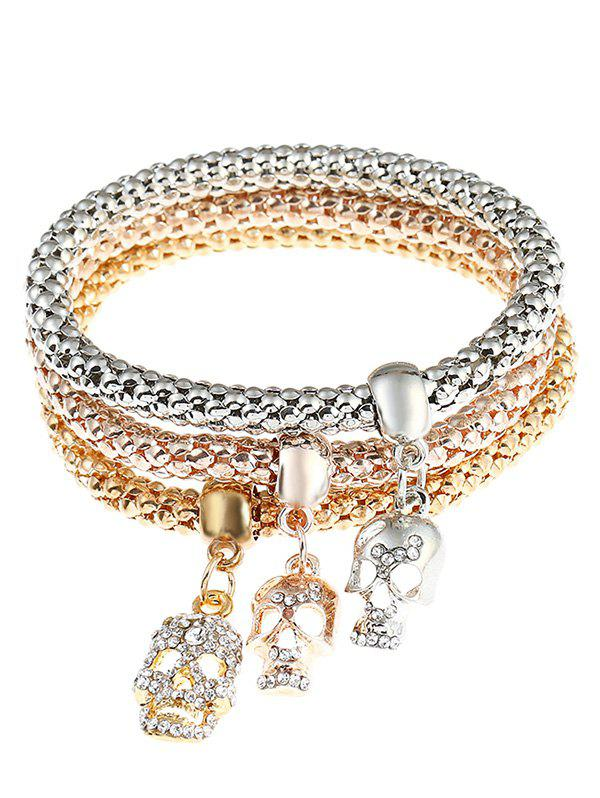 Skull Decorated Rhinestoned Wrap Bracelets - COLORMIX