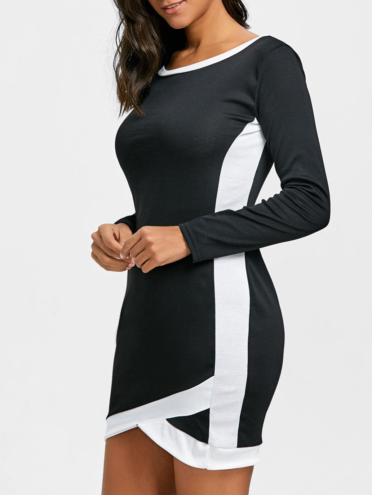 Two Tone Long Sleeve Bodycon Mini Dress - WHITE/BLACK M