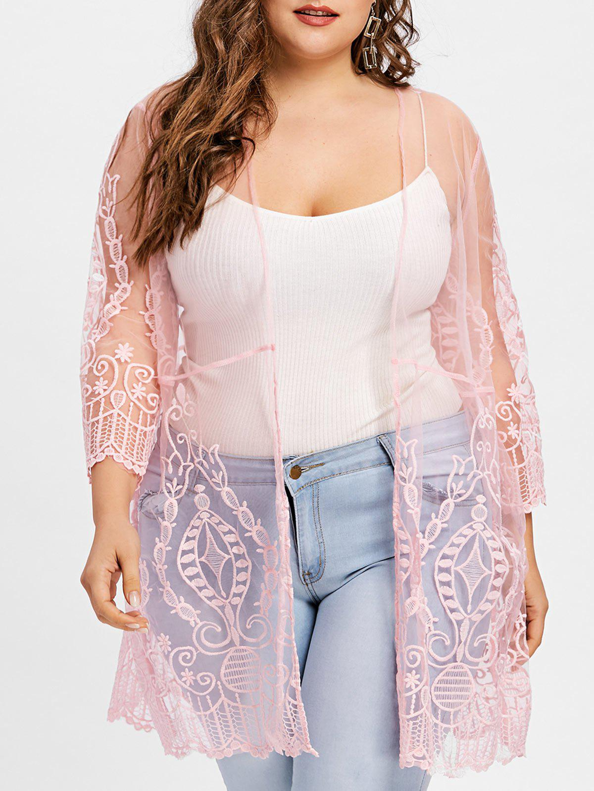 Plus Size See Thru Lace Cover Up Cardigan - PINK 3XL