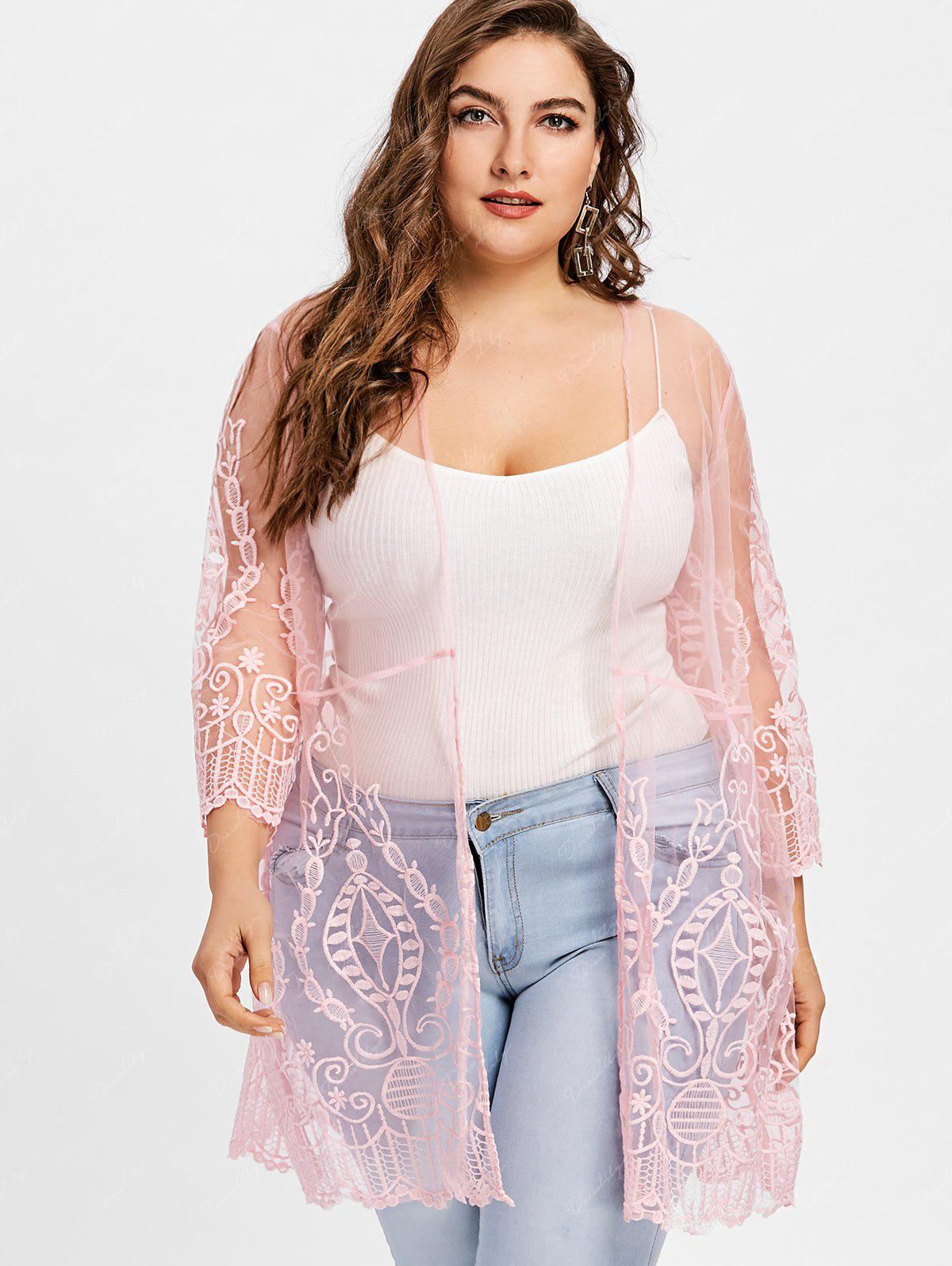 Plus Size See Thru Lace Cover Up Cardigan - PINK 4XL