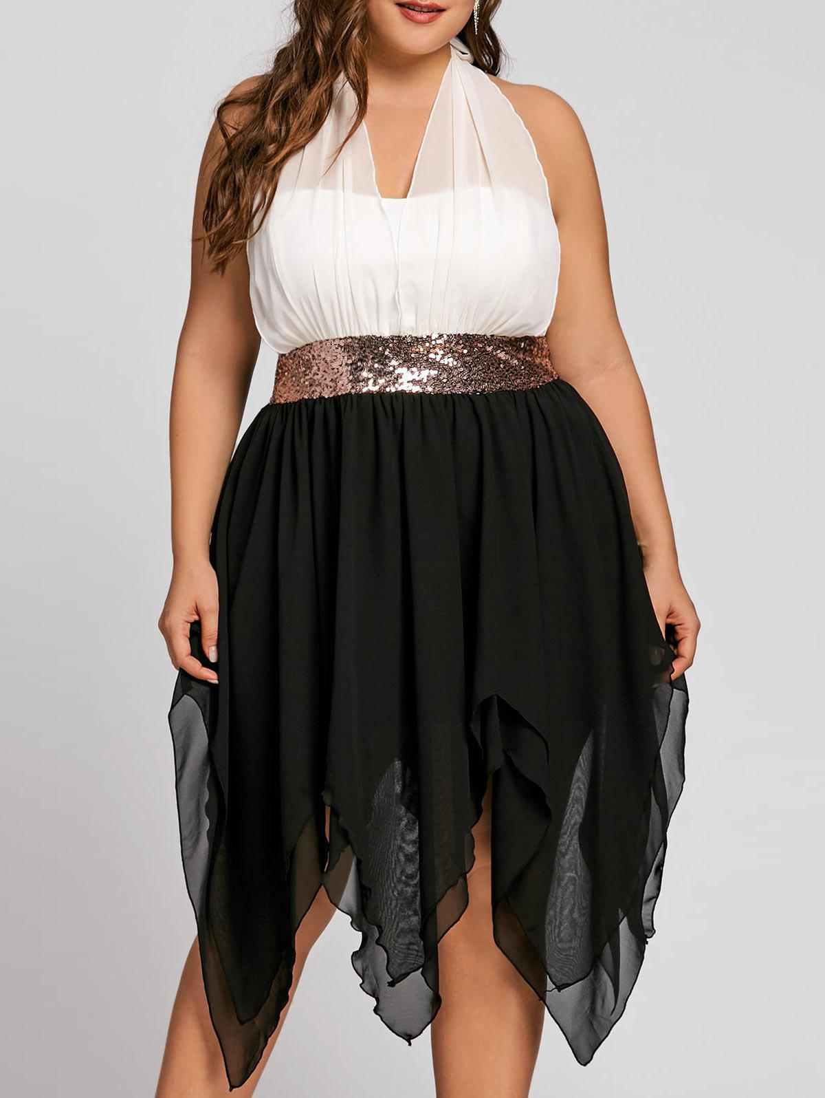Sequins Empire Waisted Plus Size Handkerchief Dress