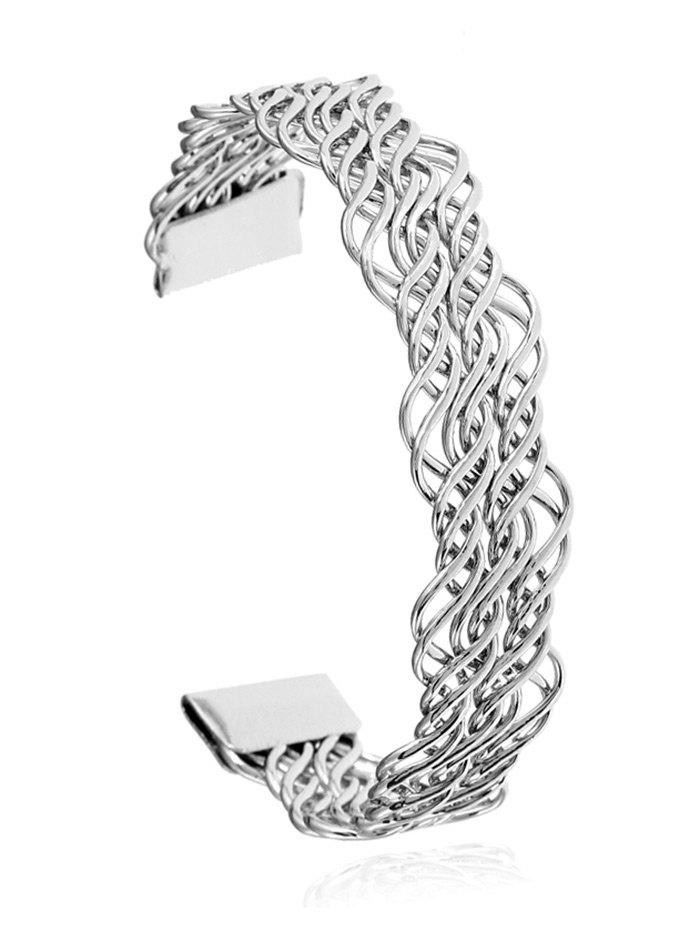 Hollow Out Twist Cuff Bracelet - SILVER