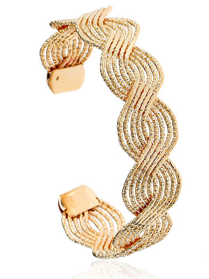 Twist Hollow Out Design Cuff Bracelet - GOLDEN
