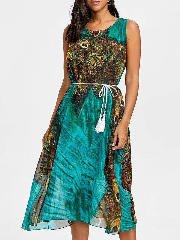 Peacock Feather Print Chiffon Tassel Belted Dress - GREEN S