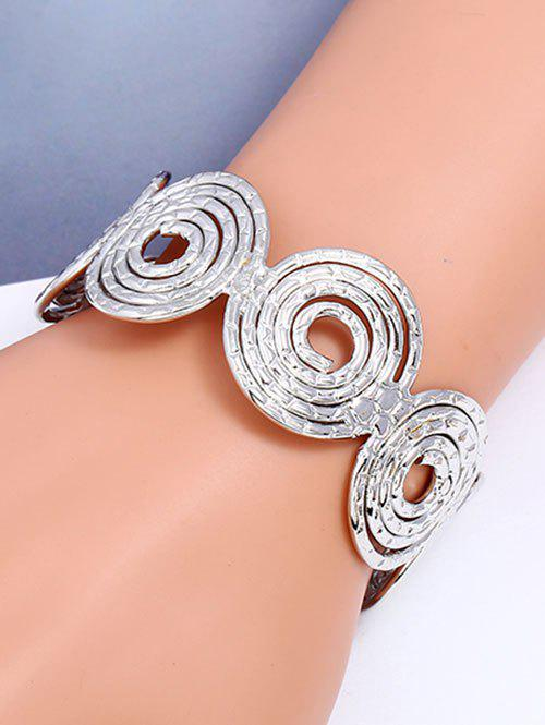 Hollow Out Spiral Metal Cuff Bracelet - SILVER