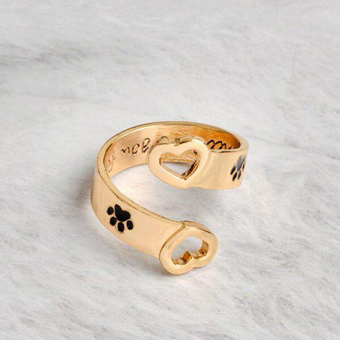 Valentine's Day Love Heart Footprint Cuff Ring - GOLDEN ONE-SIZE