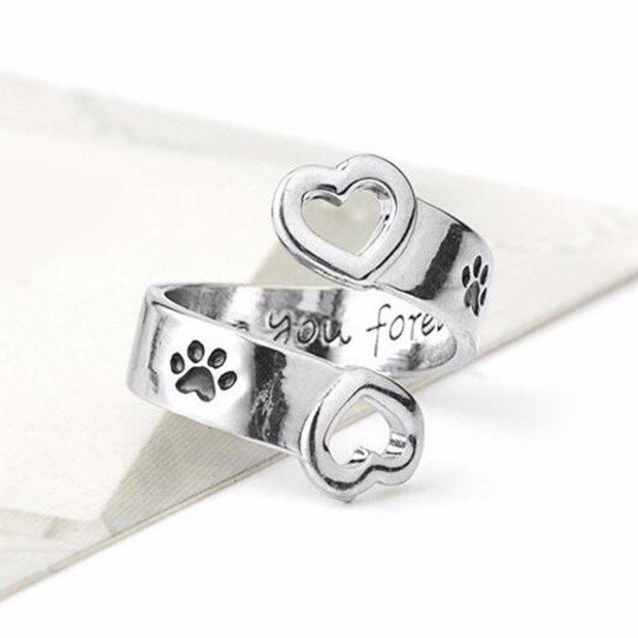 Valentine's Day Love Heart Footprint Cuff Ring - SILVER ONE-SIZE