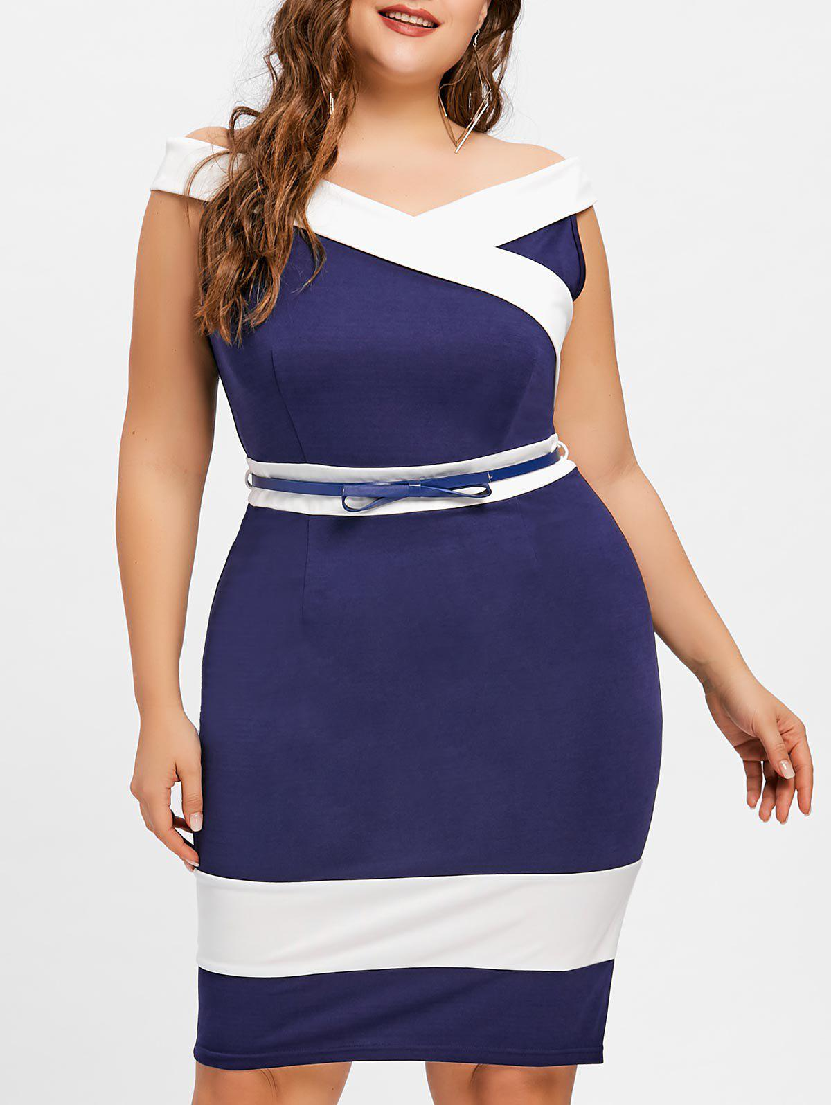 Plus Size Knee Length Two Tone Dress plus size belted knee length dress with pockets